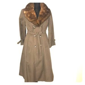 Trench Coat with Fur Collar